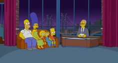 'The Simpsons' uses its  opening couch gag as a tribute to David Letterman Sunday night.