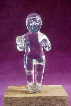Helmetted Hittite warriorncarved in rock crystal C.1500 BC