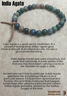 India Agate are then ripe with the human healing energies and powers to banish and ward of bad luck, evil spells and misfortune, in every sphere of life, that one may have been carrying over his or her shoulders for quite a while.  GOOD FORTUNE: India Agate Yoga Mala Bead Bracelet
