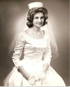 Marion in her wedding dress, 1962 Vintage Wedding Photos, Wedding Dresses Photos, Vintage Bridal, Bridal Dresses, Vintage Weddings, Wedding Pictures, Wedding Attire, Wedding Bride, Wedding Gowns