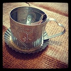 Silver Tin hearts Cup and saucer tealight holder £5 free delivery x Great Valentines Gift! www.ihearthomes.co.uk