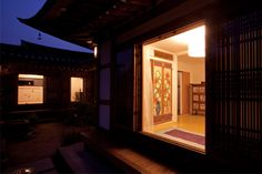 bedroom/yard of the hanok (Korean traditional house) hotel Chiwoonjung (한옥 취운정), seen at night