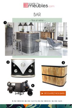 Original and industrial bars Home Map Design, Diy Design, House Design, Interior Design Living Room, Living Room Designs, Living Room Decor, Home Deco, Barris, Combi Vw