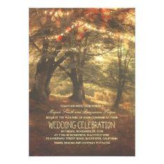 Rustic Woodland String Lights Trees Wedding Invitation by Zazzle Designer Jinaiji #zazzle #enchangedforest #wedding #weddingstationery