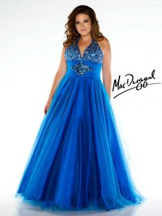 e4124bddc56 Plus Size Blue Prom Dress with Empire Waist - Mac Duggal
