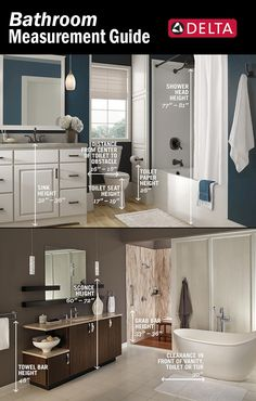 In a perfectly balanced bathroom, you probably won't notice the height or proportion of things because they feel right. If you're planning a bathroom renovation or just want to add a few improvements, keep these numbers in mind. Bathroom Renos, Bathroom Renovations, Small Bathroom, Home Remodeling, Bathroom Ideas, Bathroom Makeovers, Washroom, Bathroom Furniture, Delta Shower Heads