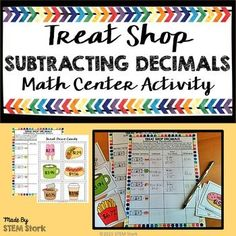 Cute math center activity to help your students practice subtracting decimals.  Students will find out how much change their receive when they shop at a treat shop!  Fun and engaging way to give your students repeated practice!