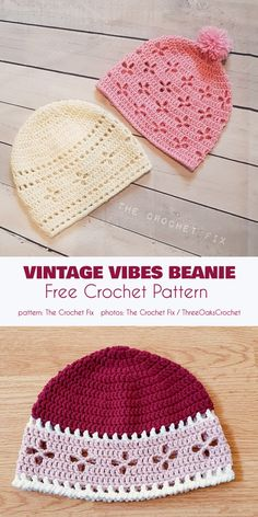 Vintage Vibes Beanie Free Crochet Pattern The Vintage Vibes beanie is a traditional noggin wrapper perfect for those retro or rustic moments like a stroll in the country or a visit Crochet Baby Hat Patterns, Crochet Beanie Pattern, Crochet Baby Clothes, Crochet Stitches, Knitting Patterns, Crochet Baby Beanie, Knitting Tutorials, Stitch Patterns, Bonnet Crochet