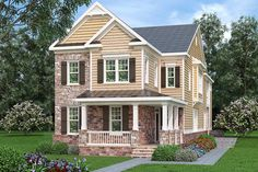 Narrow Lot Plan: 3616 square feet, 4 bedrooms, 4 bathrooms, Thomasville – Famous Last Words Narrow Lot House Plans, Brick And Stone, Stone Work, Double Sided Fireplace, Media Room Design, Craftsman Style House Plans, Garden Tub, Amazing Spaces, Traditional House