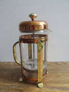 Vintage French Press Coffee Maker - in brass and copper | glass carafe, brass & copper fittings | coffee lover gift, copper kitchen decor