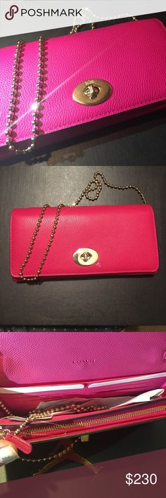 🆕 Coach Chain Clutch/Purse👛 NWT. Coach envelope purse. Can be used as wallet or clutch or purse. Removable gold chain. Lock closure. Pink Ruby color. Coach Bags Clutches & Wristlets