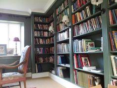 "Farrow & Ball ""Green Smoke"" no. Farrow And Ball Living Room, Living Room Paint, New Living Room, Farrow Ball, Smoke Painting, Green Library, Corner Bookshelves, Bookcases, Monochromatic Room"
