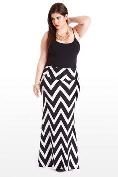 Plus Size Hypnotize Me Zig-Zag Maxi Plus Size Skirt  #plus size Fashion Inspiration