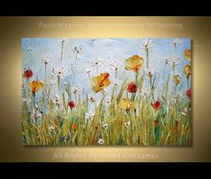 Oil Painting on canvas Summer Day interior design decor by Nizamas ready to hang - This art piece depicts vibrant red, yellow, orange and white wild flowers in a green field, and bri - Simple Oil Painting, Oil Painting Flowers, Acrylic Painting Canvas, Canvas Art, Painting Abstract, Ship Paintings, Sell My Art, Painting Inspiration, Wild Flowers