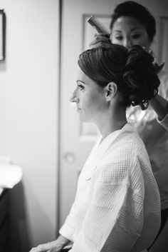 Plum and Pink Illinois Wedding at the Westin Chicago Captured by Britta Marie Photography - updo wedding hairstyle