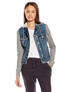 Silver Jeans Women's Knit Hooded Denim Jacket -- Click on the image for additional details.