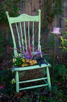 My old chair planter. Must make more of these...