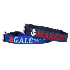The Embroidered Nautical Dog Collar is perfect for your sailing pup. Super durable nylon, anchor or sailboat design and it's made in the USA. Embroidered Dog Collars, Deaf Dog, Dog Name Tags, Dog Shock Collar, Personalized Dog Collars, Dog Safety, Best Dog Food, Training Collar, Dog Id