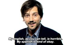 Aww, no, buddy, your English is actually very good, and your Spanish is amazing. I suck at Spanish. Part of that is because Rosetta Stone won't recognize my voice based on what I've eaten in the past twenty four hours, but still.