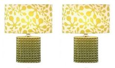 Table Lamps Island Designer Glass base 19 inch Fabric shade 12 inch PAIR 3-way
