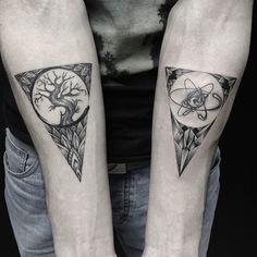 I like this idea of putting an organic shape like a tree inside a geometric one like a triangle