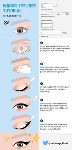 Hooded eyes present a special challenge when it comes to winged eyeliner. If we … - Eyeliner Winged Eyeliner Tricks, Eyeliner Hacks, Eyeliner For Hooded Eyes, Eyeshadow For Green Eyes, Eyeliner Styles, How To Apply Eyeshadow, Cream Eyeshadow, Eyeshadow Palette, Beauty Makeup