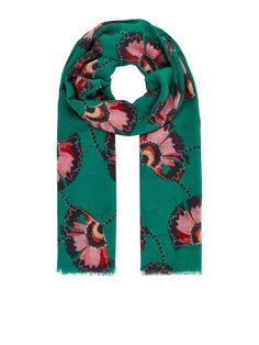 Monsoon Fara Floral Recycled Poly Scarf - Green | littlewoodsireland.ie Bold Prints, Floral Prints, Pet Plastic Bottles, Sustainable Fabrics, High Leg Boots, Long Toes, Rectangle Shape, Monsoon, Snug