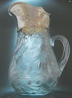 Art Nouveau Claret Jug by Tiffany Belle Epoque, Antique Glass, Antique Silver, Cut Glass, Glass Vase, Glass Pitchers, Cristal Art, Greige, Bijoux Art Nouveau