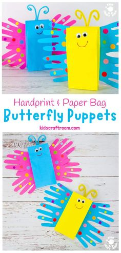 Make a pretty Paper Bag Butterfly Puppet Craft. This handprint butterfly craft is so easy and cute! Paper bag puppets are so fun for kids big and small and a great way to encourage imaginative play. Paper Bag Crafts, Paper Crafts For Kids, Fun Crafts, Paper Butterfly Crafts, Handprint Butterfly, Handprint Art, Small Paper Bags, Paper Bag Puppets, Puppets For Kids