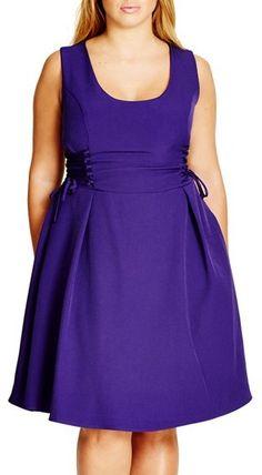 Plus Size Women's City Chic Corset Side Fit & Flare Dress Purple