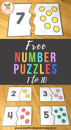 FREE number puzzles for the numbers 1 - These fun, colorful number puzzles are perfect for preschool and Kindergarten age children to practice counting and number recognition skills. Each puzzle card is split into two pieces - a number and a dot pictu Preschool Learning Activities, Free Preschool, Preschool Activities, Kids Learning, Number Activities For Preschoolers, Montessori Preschool, Montessori Elementary, Preschool Curriculum, Homeschool