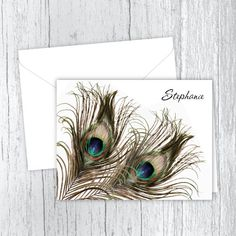 Peacock Feathers Printed Note Cards - Set of 10 Note Cards - Personalized Gift - Folded Note Cards - Personalized Stationery - PF3 Personalized Photo Gifts, Personalized Note Cards, Personalized Stationery, How To Fold Notes, Beautiful Notes, Feather Print, Peacock Feathers, Stationery Set, Printed