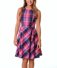 Look what I found on #zulily! Magenta & Navy Plaid A-Line Dress by Lbisse #zulilyfinds