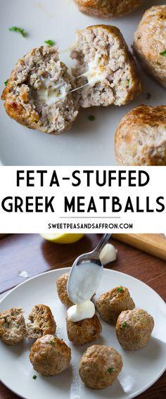 Feta-Stuffed Greek Meatballs with Lemon-Garlic Yogurt Sauce-