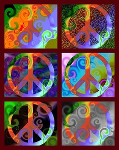 Pax Montage Duo - Latin for Peace Montage Two is a montage of the 2nd set of 6 images in the series.     The Pax (Latin for Peace) series is a collection of peace symbols set on top of a common background. The background uses abstract swirls and shapes of bold colors to create a consistent base. Various techniques are used to distinguish the peace symbol - some bold and distinct, some very subtle.
