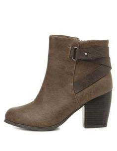 Belted Chunky Heel Ankle Boots by Charlotte Russe