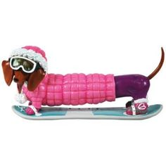 Snowboarder in Pink Parka Hot Diggity Dachshund Dog Figurine Funny Dachshund, Dachshund Love, Dachshunds, Buy Puppies, Dogs And Puppies, Gifts For Pet Lovers, Dog Lovers, Pink Parka, Dog With A Blog