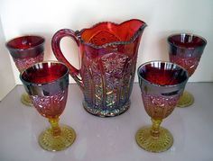 Indiana Glass Red Carnival Heirloom Pitcher and Goblets