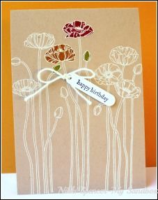 Kraft CS with white embossing and a touch of color - very pretty