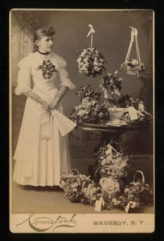 1880s-90s Cabinet Card Portrait Young Lady with Many Bouquets of Flowers AB Coms