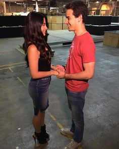 Pin for Later: Shadowhunters: You're About to Be Completely Obsessed With These Behind-the-Scenes Photos  Alberto Rosende and Emeraude Toubia making us dizzy for Sizzy (aka characters Simon Lewis and Isabelle Lightwood).