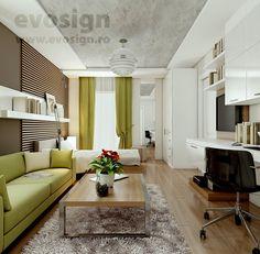Amenajare Dormitor + Living Living, Interior Design, Furniture, Home Decor, Nest Design, Decoration Home, Home Interior Design, Room Decor, Interior Designing