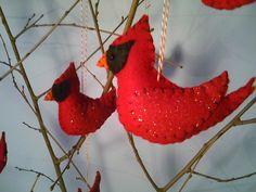 Felt Cardinal Ornament. $7.25, via Etsy.