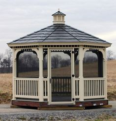 ivory vinyl screened gazebo kit