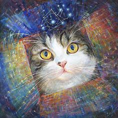 """The metaphysical healing energy fine art print """"Secret of the Cosmic Box"""" created by Elena Khomoutova  to:  Bring healing energy to your pets;  Uplift communications and understanding of your pets;  Shine joy to your life."""