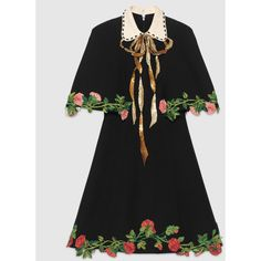 Gucci Embroidered Wool Silk Cape Dress ($3,930) ❤ liked on Polyvore featuring dresses, gucci, black, silk dress, gucci dresses, flower applique dress, flower dress and embroidered dresses