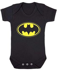 Batman Emblem Baby Vest. (0-3 months, Black Vest - Yellow Vinyl)