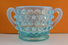 Fenton Sugar & Creamer Dish Blue Moonstone Hobnail Glass