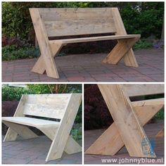 Thanks for this post.Tuinbank Cross Diese Gartenbank aus unserer eigenen Kollektion ist ein echter Hi.Tuinbank Cross This garden bench from our own collection is a real eye-catcher. And To the corner posts, use the angle iro# bench Woodworking Projects Diy, Woodworking Bench, Diy Wood Projects, Furniture Projects, Garden Furniture, Wood Furniture, Wood Crafts, Garden Projects, Woodworking Equipment
