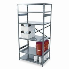 """NEW - Commercial Steel Shelving, 6 Shelves, 36w x 24d x 75h, Medium Gray - ESP62436MGY by Tennsco. $166.00. 40. Shelves adjust in 1"""" increments with compression clips. 350-lb. capacity per shelf (based on 36 x 12 shelf evenly distributed). Color: Medium Gray; Overall Width: 36""""; Overall Depth: 24""""."""